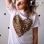 DIY豹纹心形图案T恤