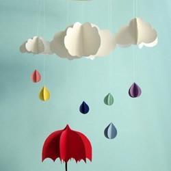 可爱云朵和雨滴的剪纸方法