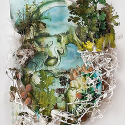 废物回收利用创作的山水作品
