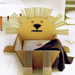 瓦楞纸板手工DIY创意动物收纳箱