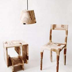 废弃木材粘接制作的家具