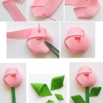 手工布艺DIY粉红玫瑰