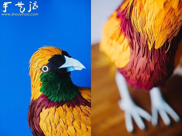 栩栩如生的鸟类纸艺作品 -  www.shouyihuo.com