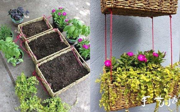 廢物利用小製作,自製漂亮掛籃花盆