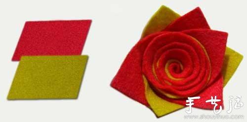 手工布艺制作玫瑰花朵的方法图片