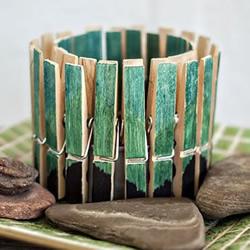 木夹子手工DIY简约蜡烛罐/笔筒