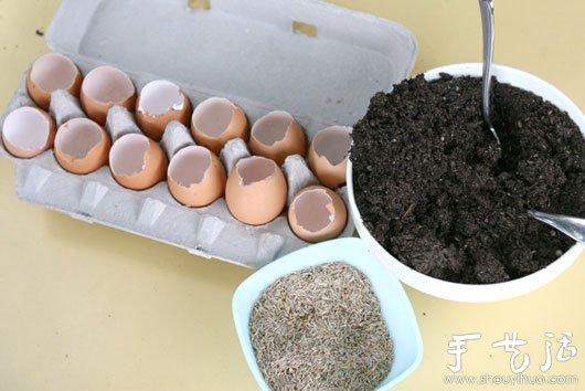 雞蛋殼巧利用DIY迷你盆栽