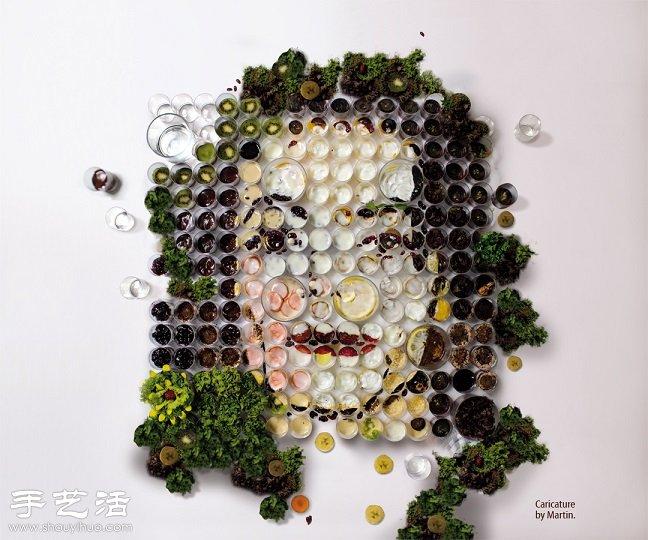 水果+蔬菜+玻璃杯 創意DIY人物肖像