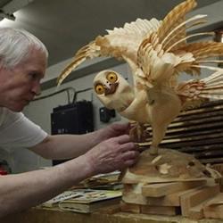 木屑手工制作栩栩如生的动物雕塑