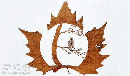 融合中國剪紙及雕花工藝的樹葉雕刻