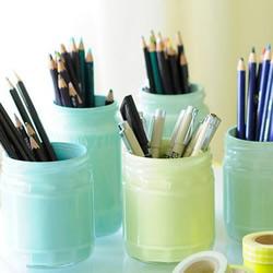 玻璃罐+涂料 手工DIY治愈系笔筒