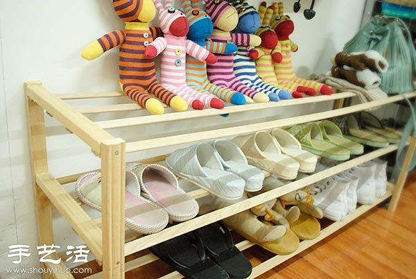 自制简约木鞋架