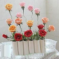 卷纸筒废物利用手工制作花瓶