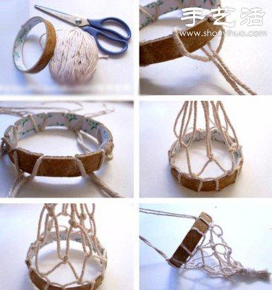 透明膠管+麻繩+玻璃瓶 DIY迷你懸挂盆栽