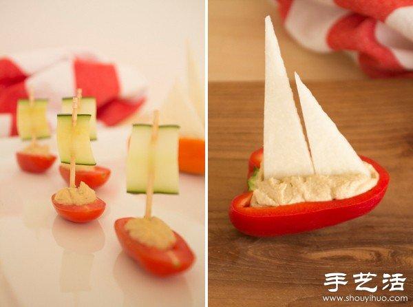 蔬菜DIY手工制作扬帆出海的小船 -  www.shouyihuo.com