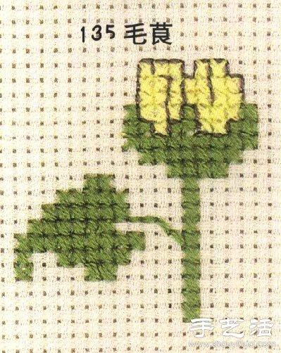 毛莨科植物的十字绣绣法 -  www.shouyihuo.com