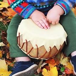 干葫芦+皮革 DIY制作可爱玩具鼓