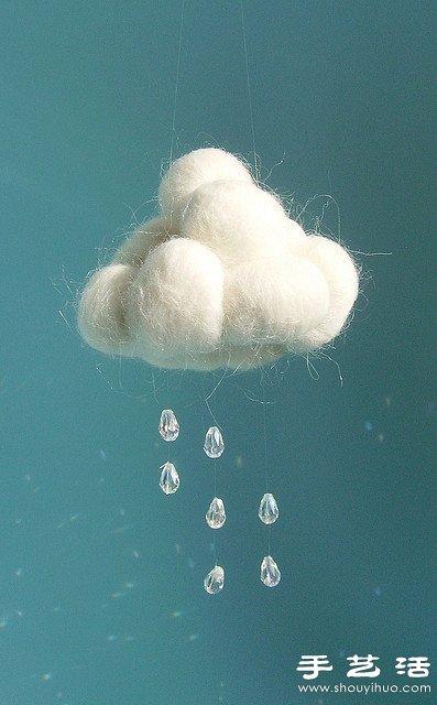 棉花、水鑽及魚線創意DIY下雨場景