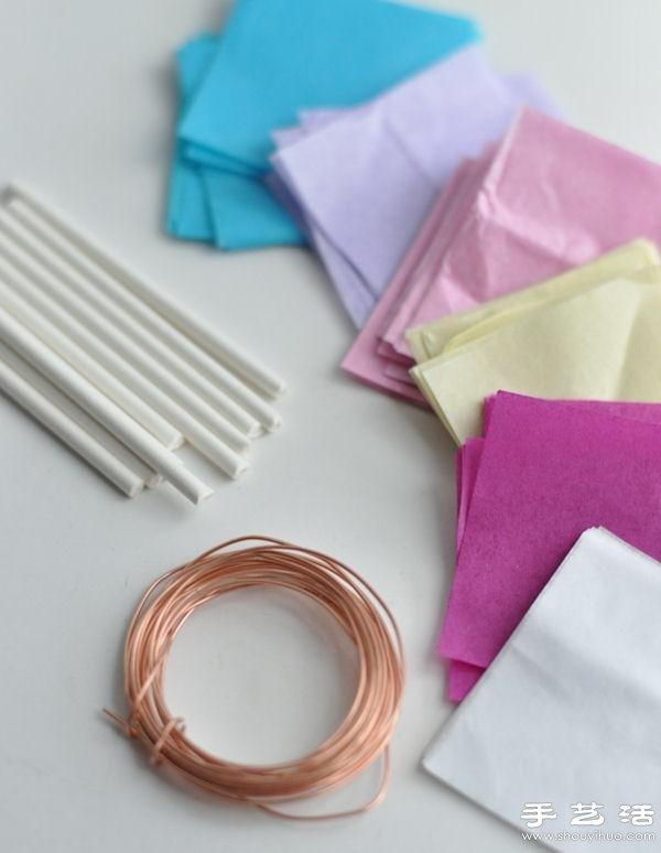 皺紋紙+銅絲+吸管 小清新手工紙花的做法