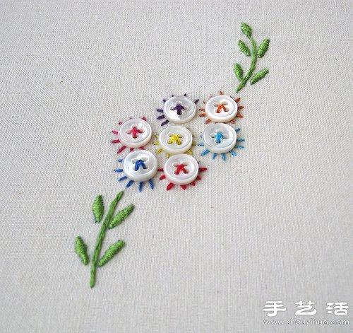 纽扣和刺绣结合DIY的小清新花朵 -  www.shouyihuo.com