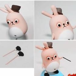 超轻粘土/软陶/橡皮泥手工捏制兔子玩偶