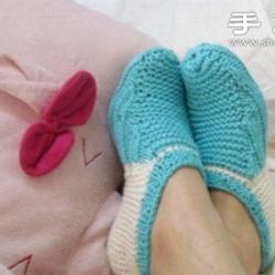 毛线针织漂亮船袜图解教程
