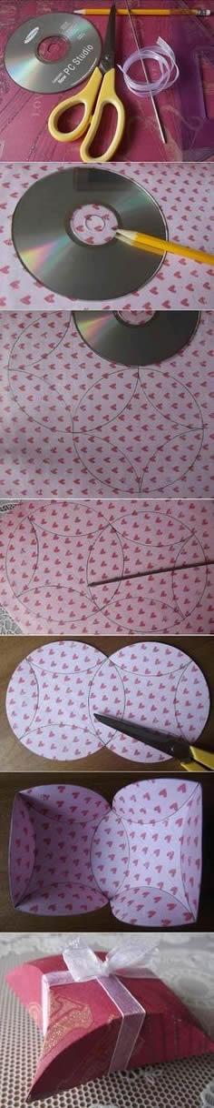 硬卡紙+光盤 自己動手製作喜糖包裝盒