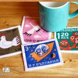 不织布手工制作邮票图案杯垫