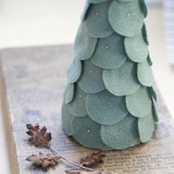 海绵+毛毡布 手工制作迷你装饰圣诞树
