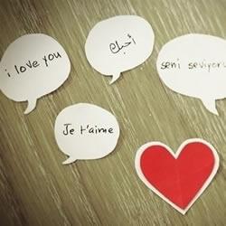 """卡纸对话框上书写各种语言的""""我爱你"""""""