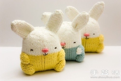 棒针织的可爱小兔玩偶 -  www.shouyihuo.com