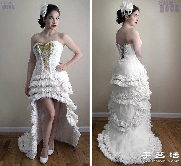 衛生紙DIY的漂亮純白婚紗禮服