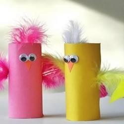 幼儿小手工:卷纸芯手工制作小鸡玩具