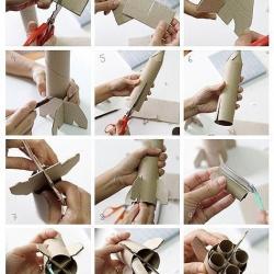 瓦楞纸+卫生纸卷筒 手工制作航天飞机模型