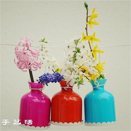 利用廢棄熱水瓶手工改造漂亮花瓶