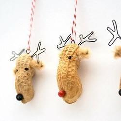 花生壳和图钉DIY制作梅花鹿挂件