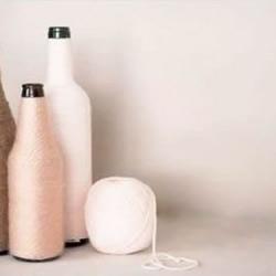 啤酒瓶/玻璃瓶+毛线 手工制作时尚花瓶