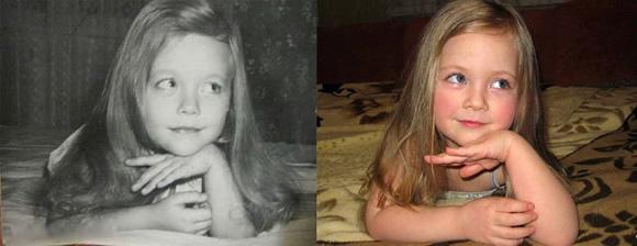 分別拍攝於1980和2014年的母女照片