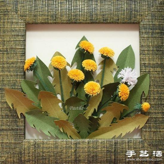 手工制作立体蒲公英装饰画教程 -www.shouyihuo.com