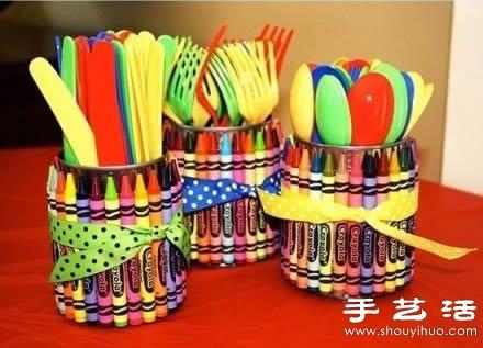 卡通风收纳桶/笔筒DIY手工制作教程 -  www.shouyihuo.com