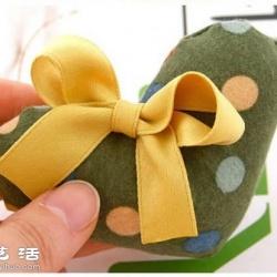 不织布教程:萌萌的心形发圈手工布艺制作