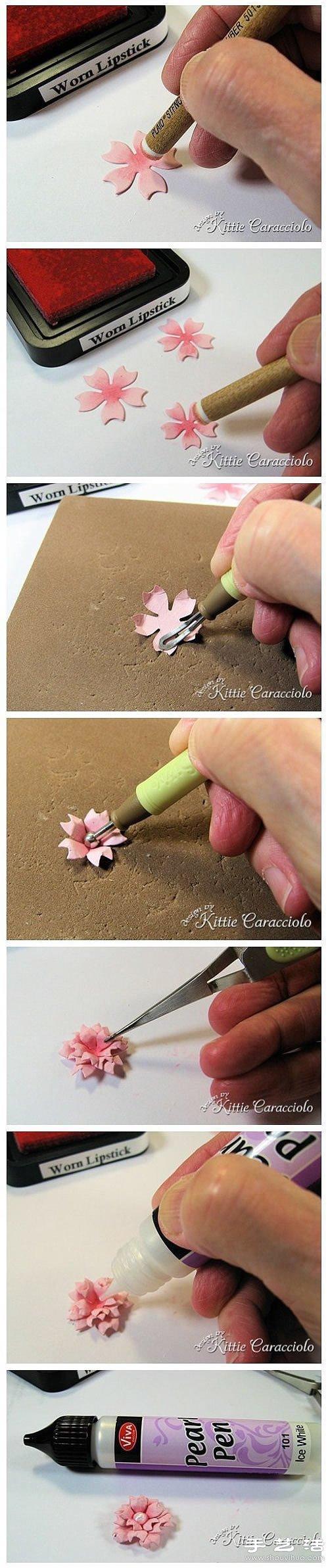 硬纸片手工制作立体花朵装饰画图解教程 -www.shouyihuo.com