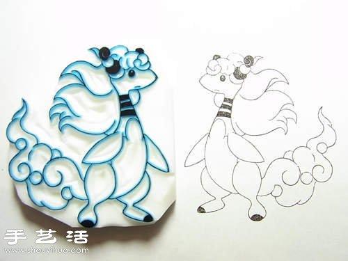 利用橡皮擦DIY制作卡通图案橡皮图章 -  www.shouyihuo.com
