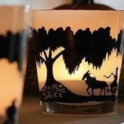 利用玻璃杯和手绘制作剪影风烛台