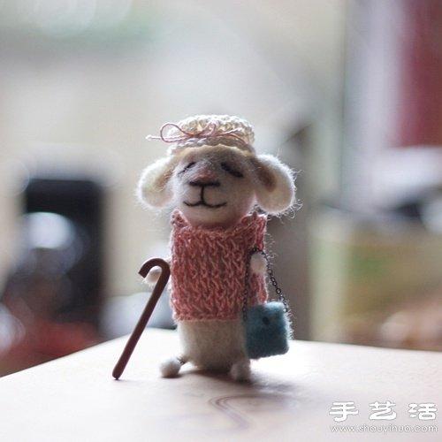 羊毛毡制作的老鼠太太 -  www.shouyihuo.com