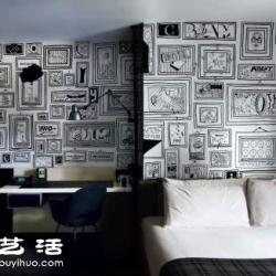 手绘达人空白墙壁上DIY漫画风画框/壁画
