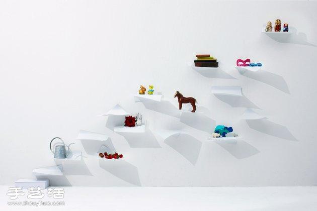 YOY設計:模仿飛舞A4紙張的鋼製書架