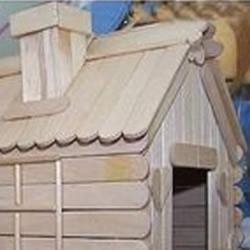 冰棒棍+一次性筷子 手工制作小房子模型