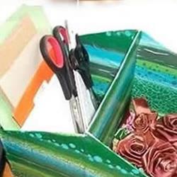 纸箱纸盒鞋盒废物利用制作带分类收纳盒