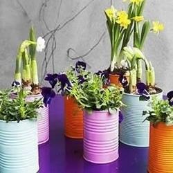 奶粉罐巧利用 DIY手工制作漂亮花盆